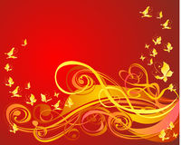 Background with scroll and butterfly, vector Stock Images