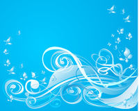 Background with scroll and butterfly, vector Stock Photography