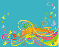Background with scroll and butterfly, vector Royalty Free Stock Image