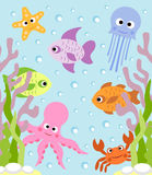 Background with sea animals Royalty Free Stock Photography