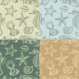 Background with a sea creatures. Vector background with various sea creatures stock illustration