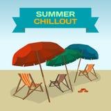Background with sea landscape summer beach, sun umbrellas, beach Stock Image