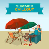 Background with sea landscape summer beach, sun umbrellas, beach Stock Photo