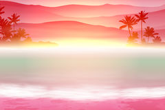 Background with sea and palm trees. Sunset time. Royalty Free Stock Images