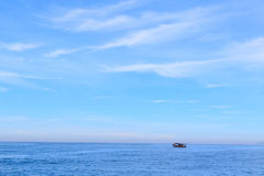 Background sea sky cloud boat Stock Photo