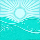 Background with Sea Wave sand Blue Sun Stock Photography
