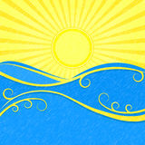 Background with Sea Wave sand Yellow Sun Royalty Free Stock Photo