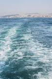 Background the sea with waves and view of Istanbul Stock Photos