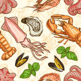 Background with seafood and basil Stock Photo