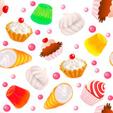 Background seamless with fruit cakes, marshmallow, Royalty Free Stock Image