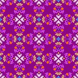 Background, seamless lilac pattern with yellow and white flowers. Stock Photos
