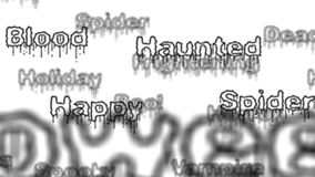 Background - Seamless loop of Halloween words with alpha matte stock video