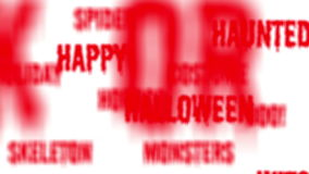 Background - Seamless loop of red Halloween words with alpha matte stock footage