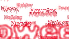 Background - Seamless loop of red Halloween words with alpha matte. 4K stock video footage