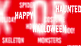 Background - Seamless loop of red Halloween words with alpha matte. 4K stock footage