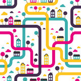 Background seamless pattern with abstract town stock illustration