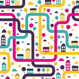 Background seamless pattern with abstract town vector illustration