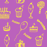 Background seamless pattern of birthday with cake, balloons, gifts and candy  illustration Royalty Free Stock Photos