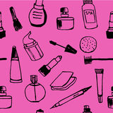 Background seamless pattern of female cosmetics on a pink background  hand-drawn  illustration Stock Photos