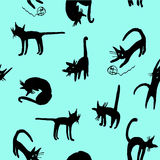 Background seamless pattern funny cartoon silhouettes of black cats sketch  illustration Royalty Free Stock Image