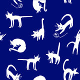 Background seamless pattern with funny doodle illustrations white kittens. Playing on a blue background Royalty Free Stock Image