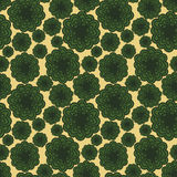 Background seamless pattern with many repeating stylized green flowers Royalty Free Stock Photos