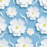 Background seamless pattern with sakura and waves Stock Images