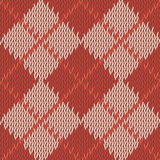 Background seamless pattern texture of red with beige square woo. L knitwear. Vector illustration Stock Photography