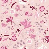 Beautiful Blooms on  Pink. Background seamless repeating pattern of beautiful blooms on pink Stock Photography
