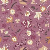 Beautiful Blooms on Plum. Background seamless repeating pattern of beautiful blooms on plum Royalty Free Stock Images