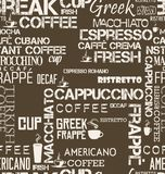 Background seamless tile of coffee words and symbols illustration. Background seamless tile of coffee words and symbols royalty free illustration