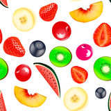 Background seamless vegetarian with fruits and berr Stock Photo