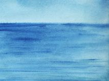 Background seascape. Water surface with a slight ripple to the h. Orizon line. Gradient from blue to dark blue. Hand-painted watercolor illustration stock illustration
