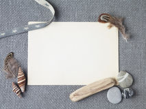 Background with seashells and wooden sticks making a frame for any text. Top view Royalty Free Stock Photo