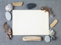 Background with seashells and wooden sticks making a frame for any text. Top view Stock Photography