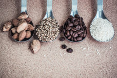 Background with seeds ingredient, vintage style Royalty Free Stock Images