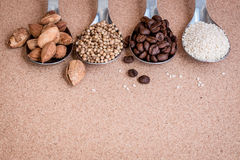 Background with seeds ingredient Stock Images