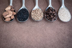 Background with seeds ingredient Stock Photography