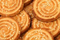 Background of sesame cakes. Royalty Free Stock Photo