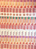 Background from set of banknotes of five thousand Russian rubles. Closeup Stock Photography
