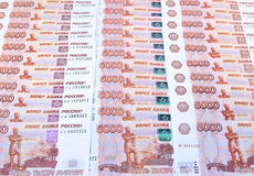 Background from set of banknotes of five thousand Russian rubles Royalty Free Stock Image