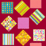 Background with set of colored patterns Royalty Free Stock Images