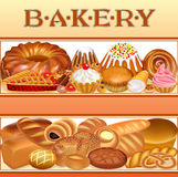 background with a set of different bread and bakery Stock Photos