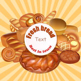 background set of fresh bread baked the best in tow Royalty Free Stock Photos