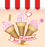 Background with a set of ice cream Royalty Free Stock Photography