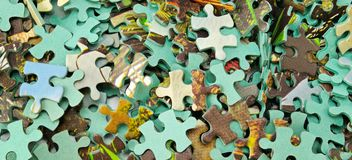 Jigsaw puzzle color background. Wide photo. Royalty Free Stock Photos