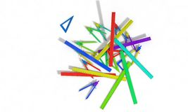 Background of Set square ,compasses and ruler models, 3d render Royalty Free Stock Images