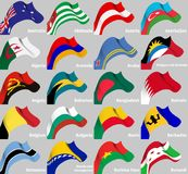 Background set with world wavy flags Royalty Free Stock Image