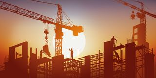 A building is being built under the sun amidst the cranes and scaffolding. royalty free illustration