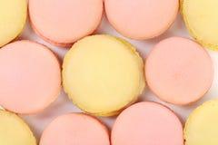 Background of seven various macaron cakes. Stock Photos